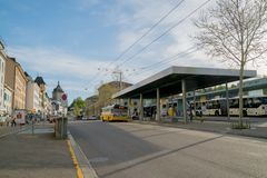 Schaffhausen, SH / Switzerland - 22 April, 2019: train and bus station in Schaffhausen with people commuting and using public. Transport stock photos