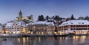 Schaffhausen, SH, Switzerland / 5 January, 2019: panorama view of the river Rhine and the city of Schaffhausen in winter. Schaffhausen, SH, Switzerland / 5 stock images