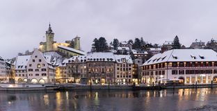 Schaffhausen, SH, Switzerland / 5 January, 2019: panorama view of the river Rhine and the city of Schaffhausen in winter. Schaffhausen, SH, Switzerland / 5 royalty free stock photo