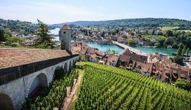 Schaffhausen, Suiza Vista panorámica de la ciudad vieja, fortaleza de Munot que pasa por alto el río Rhine imagen de archivo libre de regalías