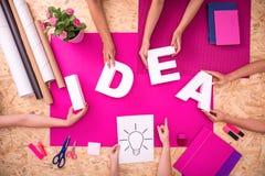 Schaffung des Ideenwortes Stockfoto