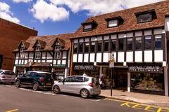 Schafstraße in der Mitte von Stratford Upon Avon, Warwickshire England, Vereinigtes Königreich, Westeuropa lizenzfreie stockfotografie