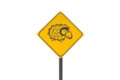 Schafzeichen lokalisiert auf weißem Hintergrund Lizenzfreies Stockfoto