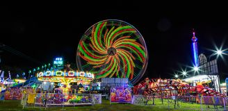 Schaghticoke-Messe NY USA August 2017 Regnerische Sommernacht im September Lizenzfreies Stockbild