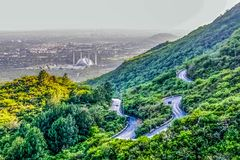 Schah Faisals-Moschee ist das masjid in Islamabad, Pakistan Gefunden auf den Vorbergen von Margalla-Hügeln Der größte Moscheenent stockfoto