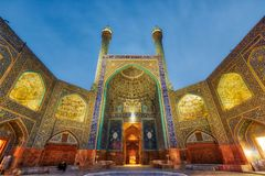 Schah-Moschee an Quadrat Naqsh-e Jahan in Isfahan, der Iran, eingelassenes Januray 2019 eingelassenes hdr lizenzfreie stockfotografie