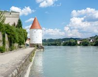Schaibling Tower at the river Inn promenade in Passau stock image