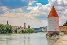 Schaibling Tower at the river Inn promenade in Passau royalty free stock image