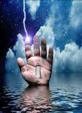 Schakel hand elektrische schok in royalty-vrije illustratie