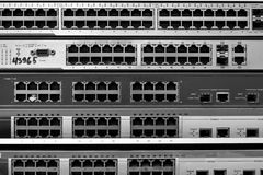 Schakelaar Ethernet. De schakelaars van RJ45. Royalty-vrije Stock Afbeeldingen
