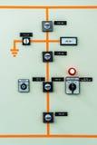 Schakelaarcontrole bij krachtcentrale stock foto
