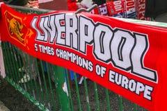Schal für Liverpool-Fans Stockbilder