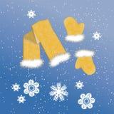 Schal und Handschuhe auf dem Winterhintergrund Stockbild