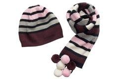 Schal und Hut. Lokalisiert. Stockfoto