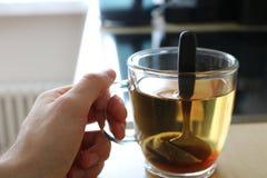 Schale Abschluss des grünen Tees oben Lizenzfreies Stockfoto