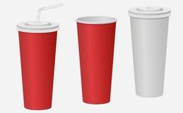 Schale des roten und Weißbuches mit einem Deckel Gekohltes Getränk Vektor Stockfoto