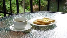 Schale Espressokaffee mit Toast Lizenzfreie Stockbilder