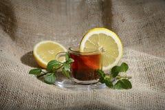 Schale gebrauter schwarzer Tee mit einer gelben Zitrone und einer grünen Minze lizenzfreies stockfoto
