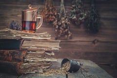 Schale gesunder Tee, Mörser von Kräutern und alte Bücher Hängende Bündel der medizinischen Kräuter auf Hintergrund Lizenzfreie Stockbilder