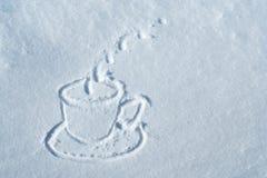 Schale gezeichnet in Schnee Lizenzfreies Stockfoto