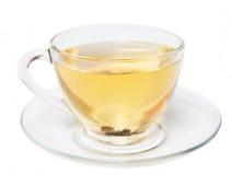 Schale grüner Tee lokalisiert auf Weiß Stockfotos