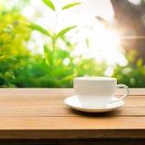 Schale heißer Kaffee auf Tabelle mit grünem Garten Stockfoto
