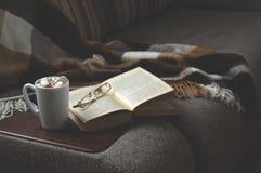 Schale heißer Kaffee mit Marmeladenbuch zeigt die Decke auf der Couch und der Katze das Fenster lizenzfreies stockbild
