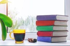 Schale heißer Kaffee mit Zimt und ein Stapel Bücher auf dem Fensterbrett Regentropfen auf dem Glas Wohnzimmer konzipiert in der R Stockfotos