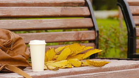 Schale heißer Kaffee und gelbe herbstliche leaveas auf der Parkbank stock video footage
