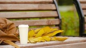 Schale heißer Kaffee und gelbe herbstliche leaveas auf der Parkbank stock video