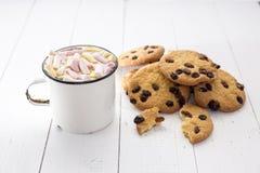 Schale heißer Kakao mit Farbeibisch- und -hafermehlplätzchen lizenzfreie stockfotos