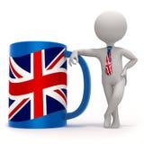 Schale mit Großbritannien-Flagge und kleinem Charakter Lizenzfreies Stockfoto