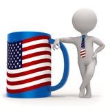 Schale mit USA-Flagge und kleinem Charakter Stockfotografie
