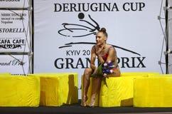 Schale rhythmische Gymnastik-Grandprix Deriugina in Kyiv, Ukraine Stockbild