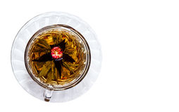 Schale der Draufsicht des schwarzen Tees Stockbilder
