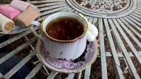 Schale schwarzer Tee mit Bonbons Lizenzfreies Stockfoto