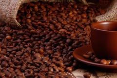 Schale und Bohnen Coffe Lizenzfreie Stockfotografie