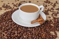 Schale und Kaffeebohnen mit Zimt Stockbilder