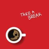 Schale von coffe Illustration auf Rot Lizenzfreie Stockfotografie
