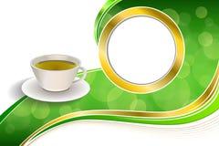 Schalen-Goldkreis-Rahmenillustration des grünen Tees des Hintergrundzusammenfassungsgetränks Stockbilder
