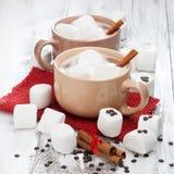 Schalen heiße Schokolade mit Eibischen stockfotos