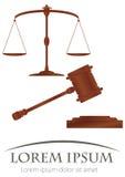 Schalen van rechtvaardigheid & hamer van rechtvaardigheid Royalty-vrije Stock Afbeeldingen
