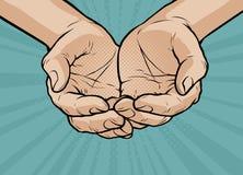Schalenförmige Hände, gefaltete Arme Retro- komische Art der Pop-Art Karikaturvektor lizenzfreie abbildung