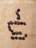 Schalensymbol von Kaffeebohnen Stockfotografie