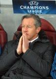 Schalke 04 λεωφορείο Jens Keller κατά τη διάρκεια του παιχνιδιού UEFA Champions League Στοκ Εικόνες