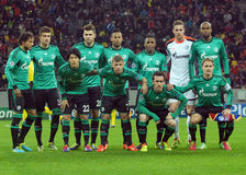 Schalke 04 lineup before UEFA Champions League game Stock Photography