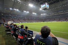 Schalke 04 versus Paok Stock Afbeeldingen
