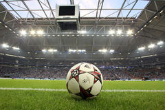 Schalke vs PAOK champions league. GELSENKIRCHEN, GERMANY -AUG 21: Champions League football balls in the field before the match Schalke vs PAOK on Aug 21,2013 in royalty free stock photography