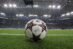 Schalke vs PAOK champions league. GELSENKIRCHEN, GERMANY -AUG 21: Champions League football balls in the field before the match Schalke vs PAOK on Aug 21,2013 in stock image