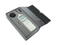 Schallpegelmesser im Kasten lizenzfreie stockbilder